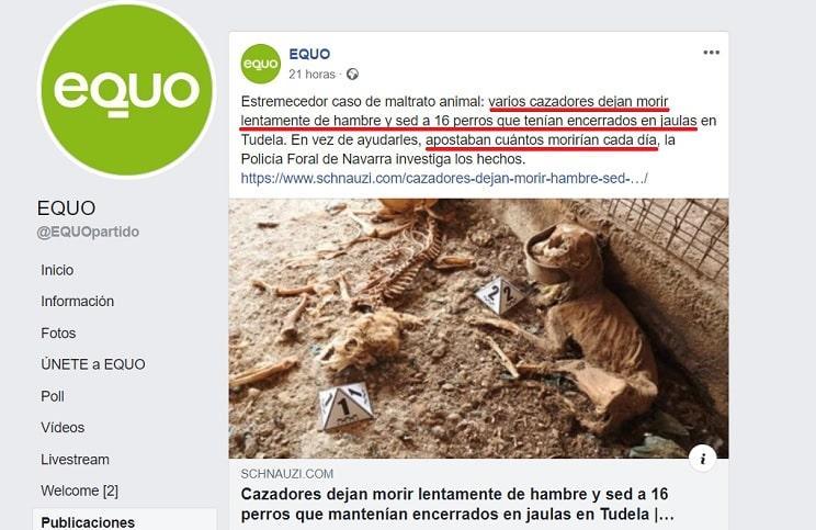 EQUO difunde un mensaje falso que alimenta el odio contra los cazadores