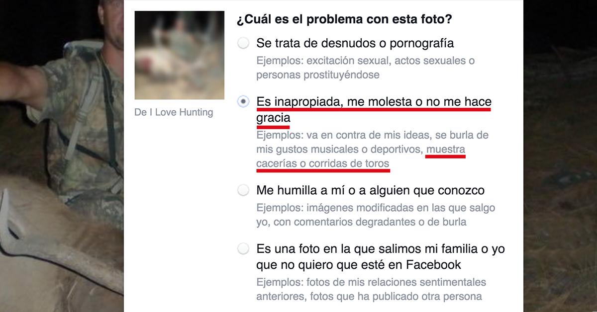 La gran mayoría de los internautas rechaza que Facebook censure fotos de caza