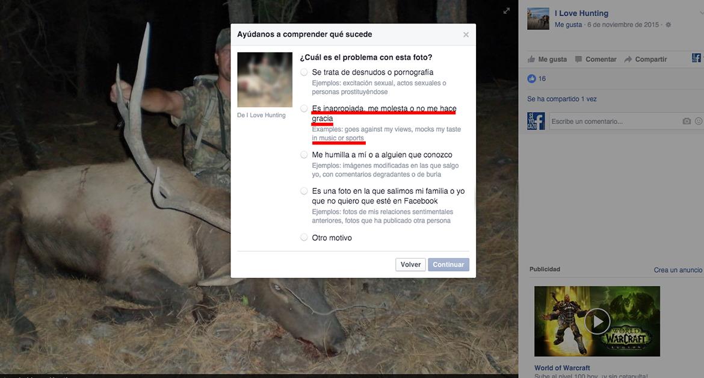 Facebook rectifica y retira la censura a la caza