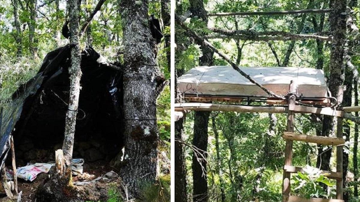 Detienen a un furtivo que había construido un chozo y un puesto de árbol con un colchón en plena reserva