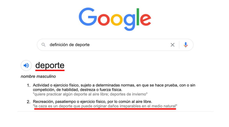 Google continúa sin modificar la definición de deporte que ataca a la caza