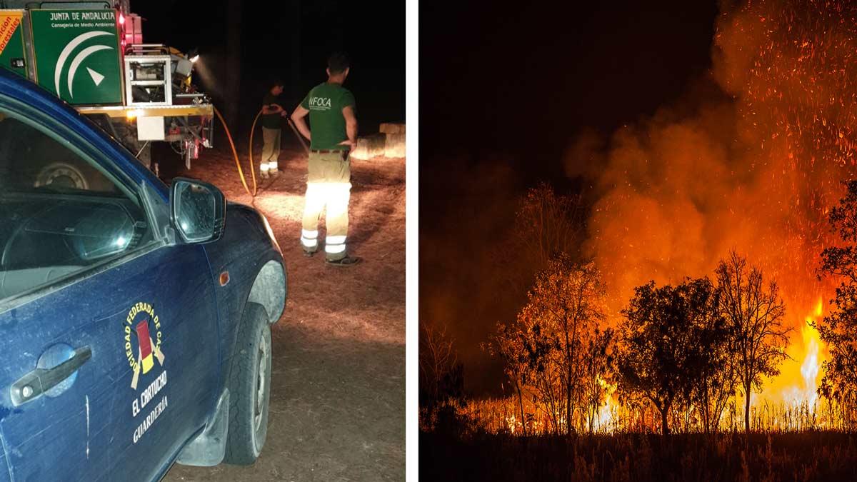 Guardas de la sociedad de cazadores de Barbate evitan un incendio originado por unos campistas