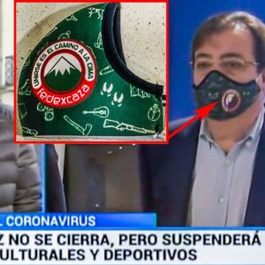 Fernández Vara aparece en televisión usando una mascarilla de la federación de caza