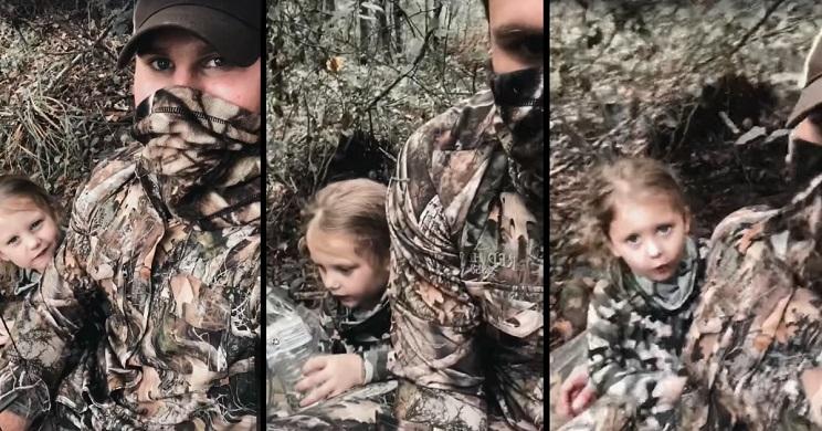 Este es el tronchante vídeo de un cazador que se lleva de caza a su hija por primera vez
