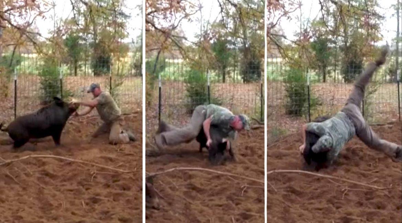 Un cazador se enfrenta a un enorme jabalí con sus propias manos ¿Quién es más animal?