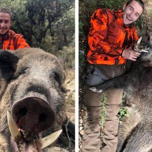 Caza un descomunal jabalí de 120 kilos con unas monstruosas navajas y una amoladera que se le clavaba