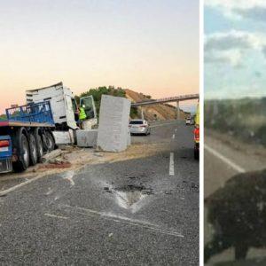 Un camión pierde dos bloques de granito 20 toneladas al esquivar un jabalí y corta la A-75