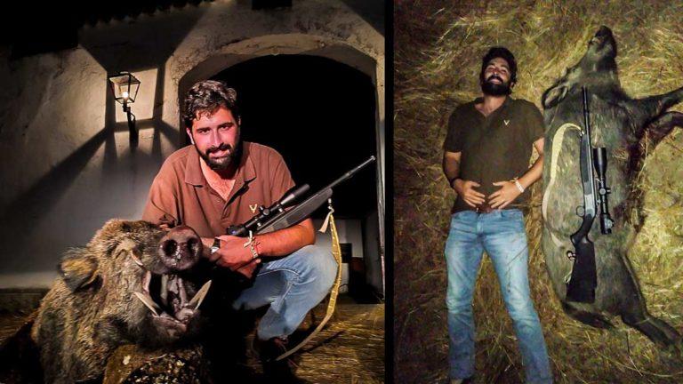 El cazador, con el enorme jabalí. / C.M.