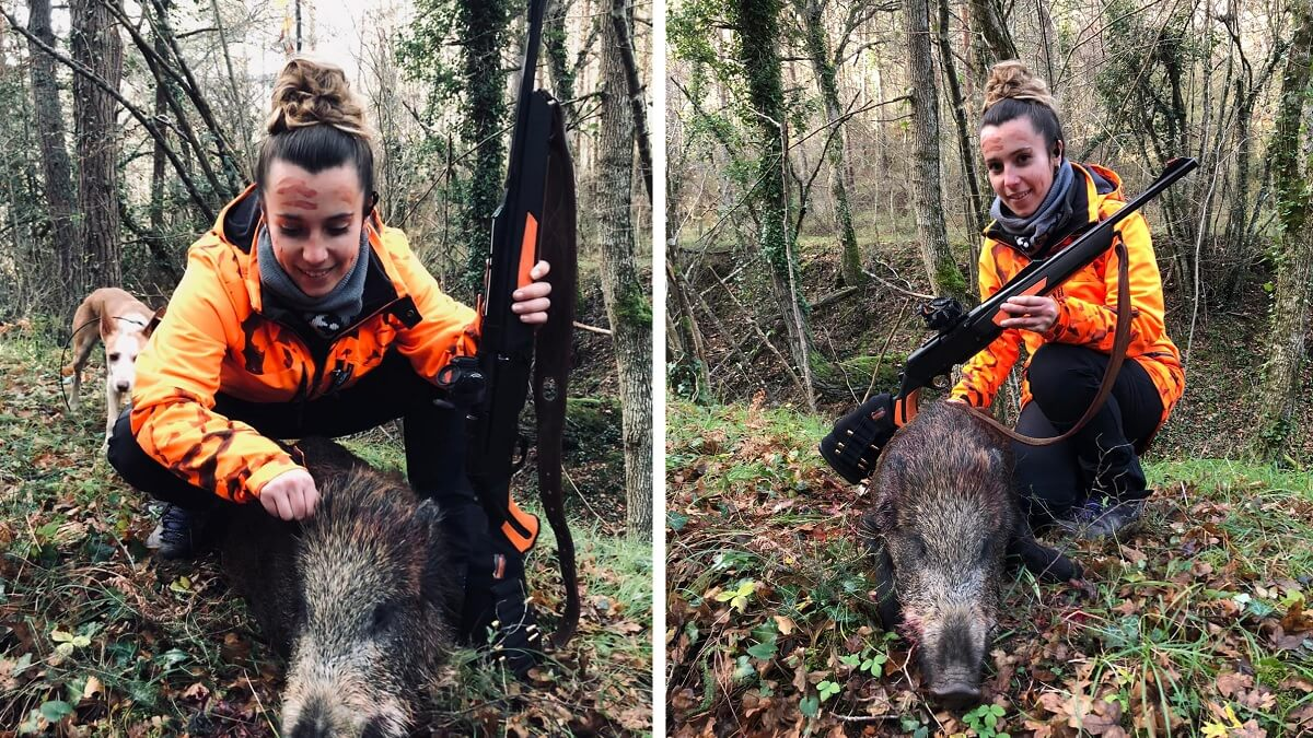 Esta joven caza el primer jabalí de su vida en un lance a sólo tres metros