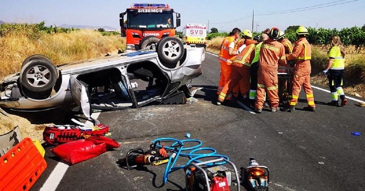 Un jabalí provoca un brutal accidente en Valencia