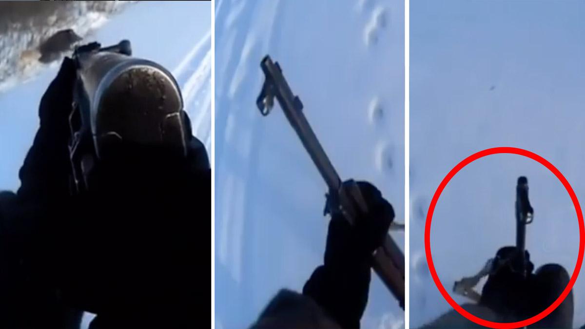 Intenta cazar un jabalí con un arma de guerra, se encasquilla ¡y mira lo que hace!