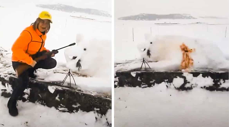 Este es el desternillante 'jabalí' de nieve abatido por este cazador