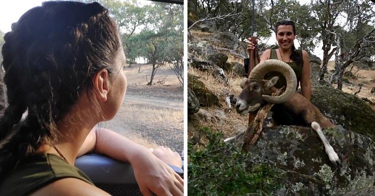 Una joven de 20 años caza un gran muflón en su primer día de rececho
