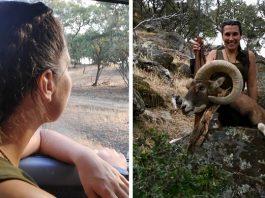 joven caza gran muflon primer rececho