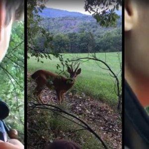 Un joven cazador rompe a llorar cuando es sorprendido por un corzo