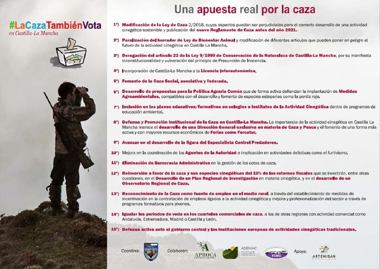 El sector cinegético lanza en Castilla-La Mancha la campaña #LaCazaTambienVota
