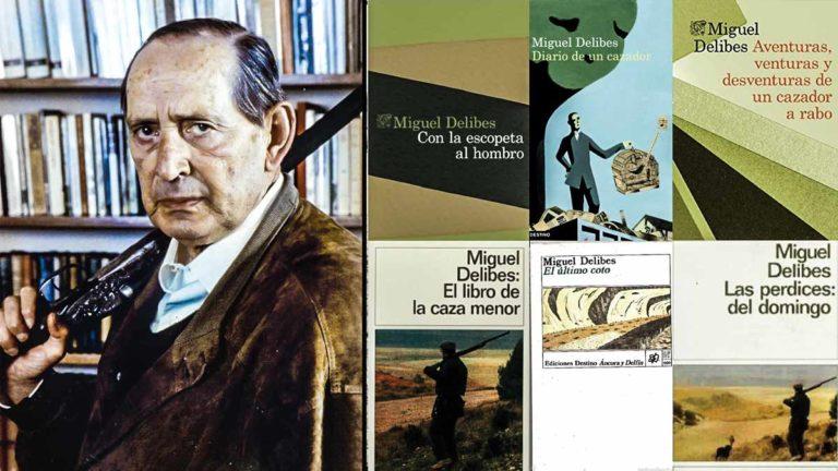 Miguel Delibes junto a sus seis libros de caza. @Fundación Miguel Delibes