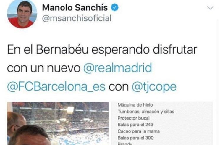Sanchís publica por error en Twitter su lista de la compra: «balas para el .243 y para el .300»