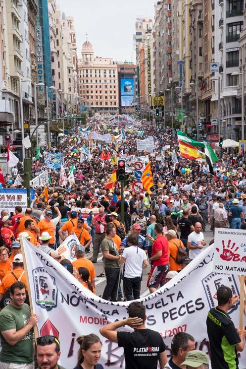 Manifestación de cazadores y pescadores del pasado mes de junio. / Jara y Sedal