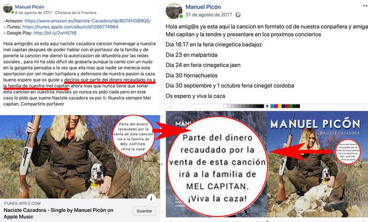 Publicaciones de Facebook donde Manuel Picón muestra los formatos de la canción asegurando que parte del dinero recaudado irá para la familia. /Facebook