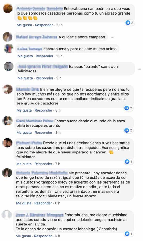 Mensajes de cazadores en el grupo de Facebook de Jara y Sedal.