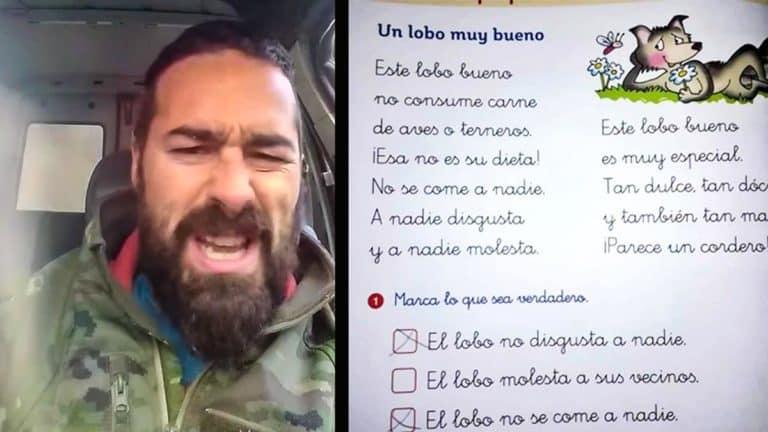 A la izquierda, Nel Cañedo; a la derecha, el ejercicio escolar en el que se explica que el lobo no come carne. © Facebook