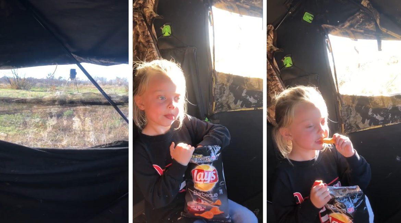 Un cazador lleva a su hija a una espera de jabalí y esta abre una bolsa de patatas fritas en pleno aguardo