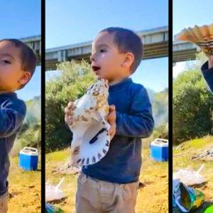 Este niño de 20 meses que toca la caracola para llamar a sus perros de caza arrasa en las redes