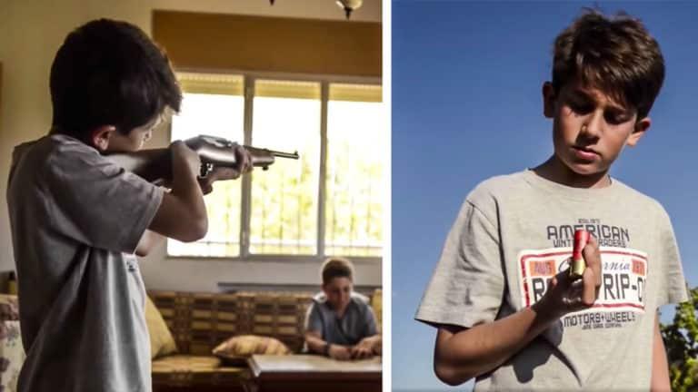 Imagen de la campaña de la Guardia Civil sobre las armas y los niños.
