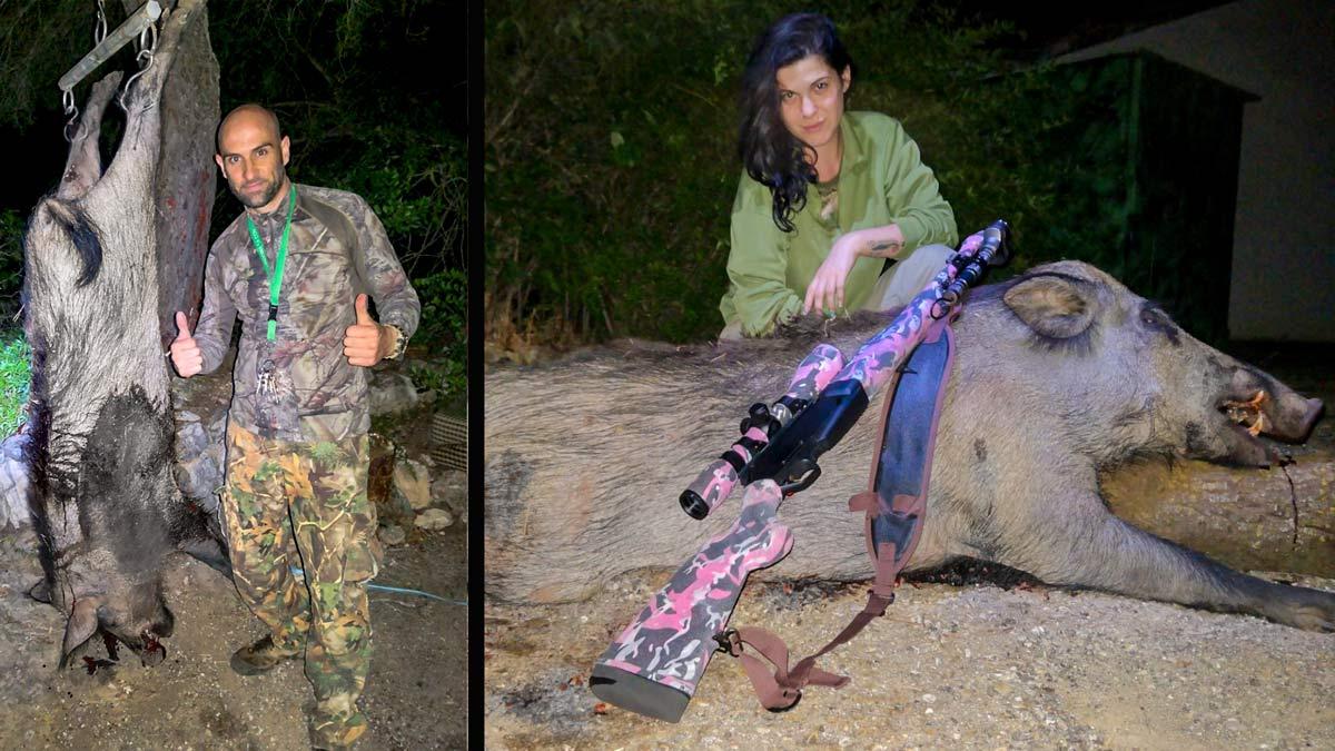Ella era anticaza, él cazador, se enamoraron y ahora su rifle es rosa y aguardan jabalíes juntos