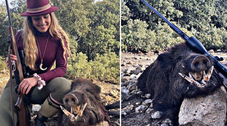 Esta joven cazadora abate un enorme jabalí de 113 puntos en Valladolid
