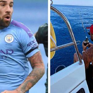 El jugador del Manchester City Nicolás Otamendi se muestra pescando en sus redes sociales