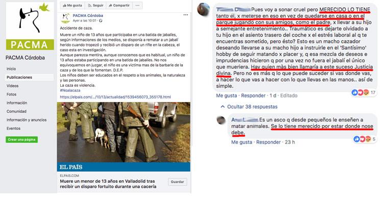 PACMA aprovecha la muerte de un niño en una cacería para hacer propaganda política y sus simpatizantes se alegran
