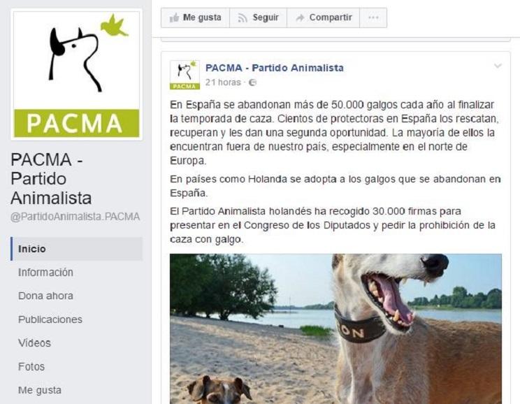 Mensaje publicado en el perfil de Facebook de PACMA en la tarde de ayer. / Facebook