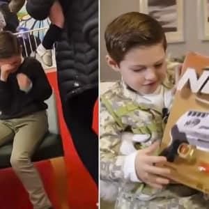 Papá Noel niega un rifle de juguete a un niño, este rompe a llorar y la ANR le 'salva' la Navidad
