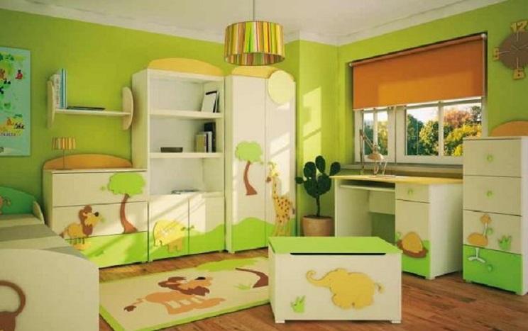 paredes utilizando un tono de verde