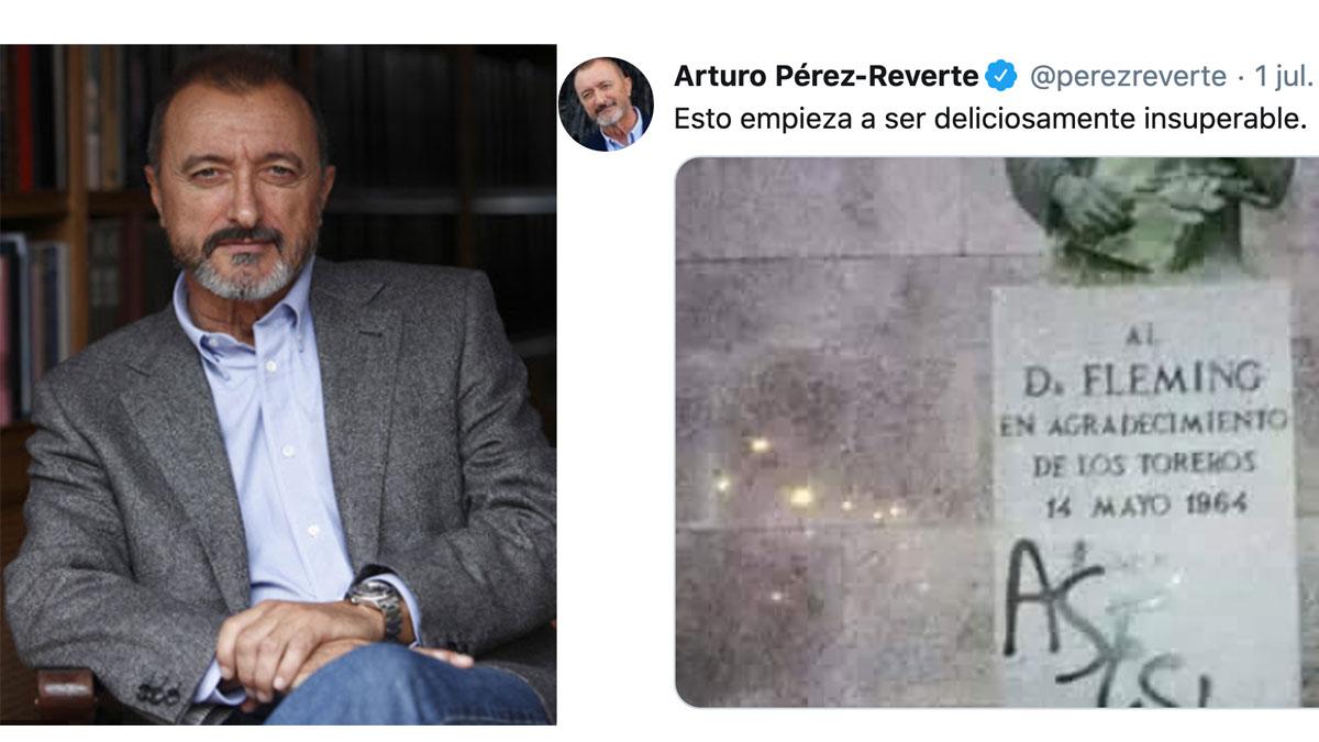 'Zasca' antológico de Pérez-Reverte a los animalistas por pintar «Asesino» en una estatua de Flemming