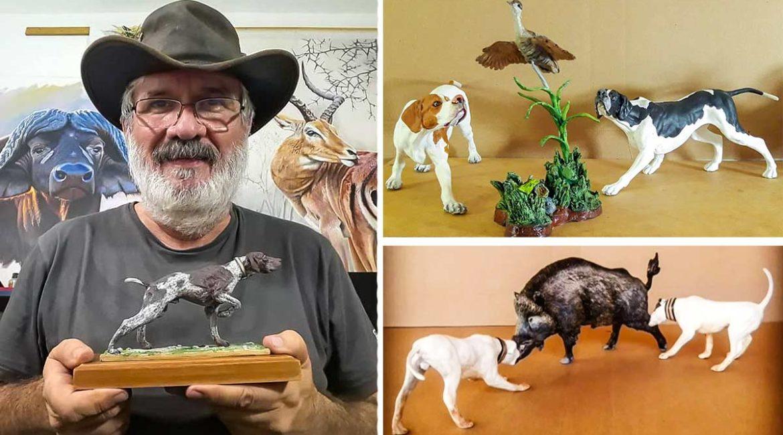 Las miniaturas de perros de caza de este artista cazador parecen estar a punto de ladrar