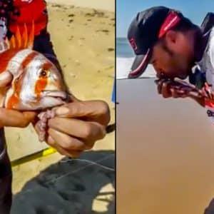 Este es el aplaudido vídeo de un pescador tras capturar a una urta que no da la talla en Cádiz