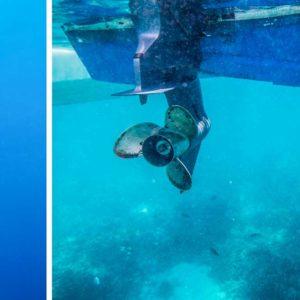 Un pescador submarino graba cómo una barca le arranca la boya del cinturón con las hélices