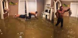 pescando salon casa inundada