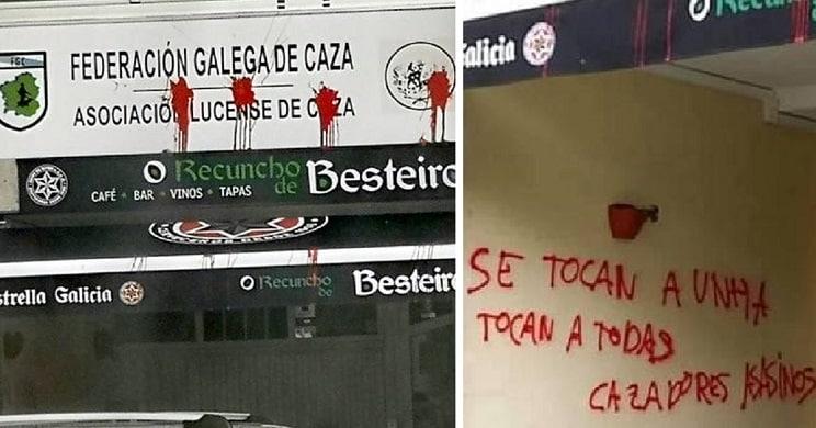 La sede de la Federación Galega de Caza en Lugo sufre un ataque animalista