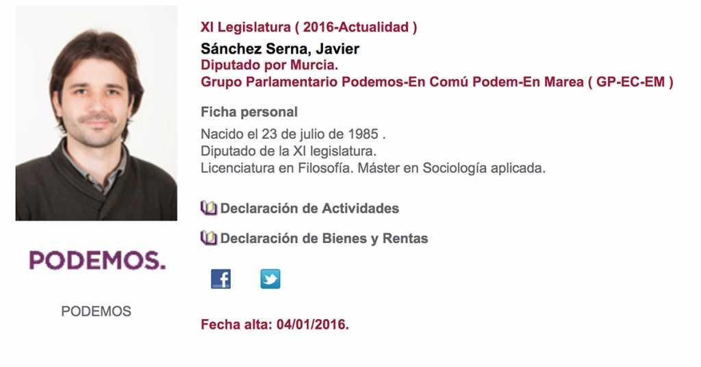 Javier Sánchez Serna, diputado de 30 años con Podemos, se ha manifestado a favor de la prohibición de la caza.