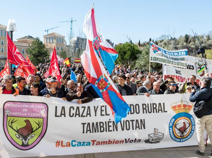 Manifestación de cazadores del pasado mes de marzo en Valladolid. /Jara y Sedal