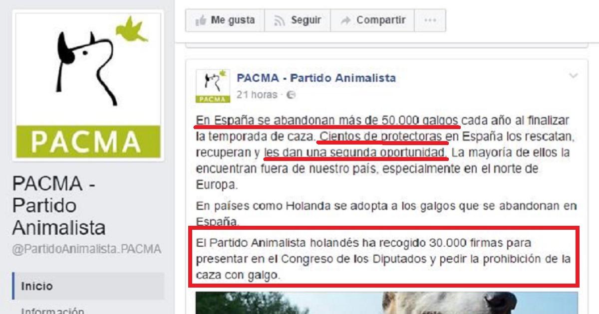 El partido animalista holandés PvdD afín a PACMA recoge firmas para prohibir la caza con galgos en España
