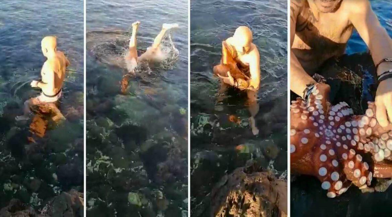Un hombre se tira al mar y pesca a este enorme pulpo con sus propias manos