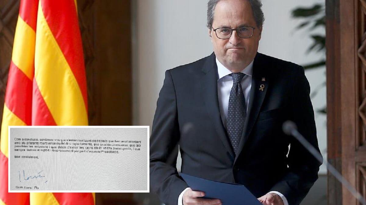 Quim Torra envía esta histórica carta de apoyo a los cazadores catalanes