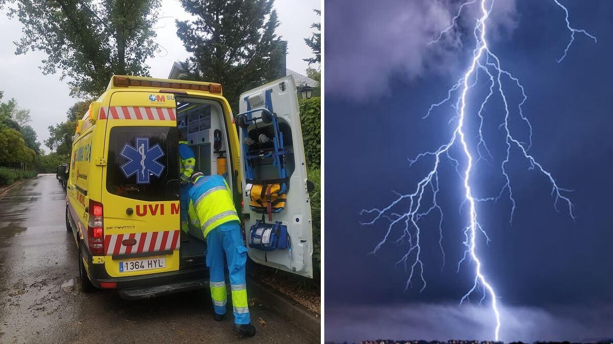 Un rayo cae sobre un hombre en Torrelodones atraído por su paraguas