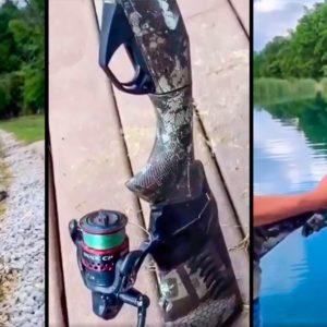 Broma viral: un cazador instala un carrete y unas anillas a una repetidora y la usa como caña de pescar
