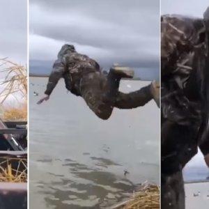 Surrealista: caza un pato y su compañero se lanza al agua como si fuera un perro